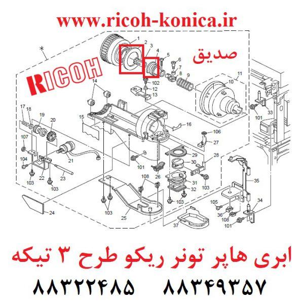 ابری هاپر تونر ریکو 3 تیکه Toner Supply Unit Seal ricoh af 2060 ماشینهای اداری صدیق